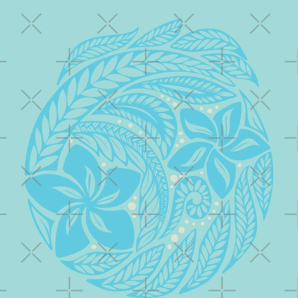 Polynesian floral light blue tattoo design by Ayelet Fleming