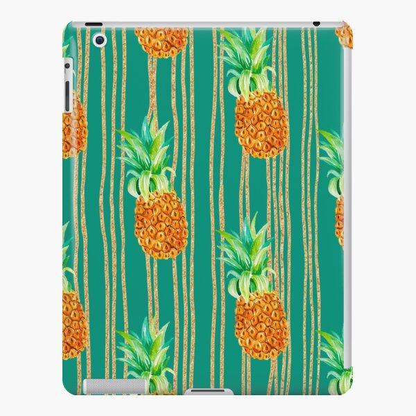 Green Turquoise Glitter Pineapple Stripes Print Pattern iPad Snap Case