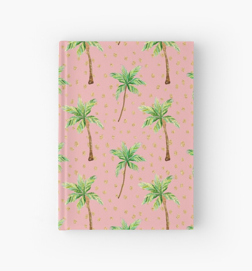 Peach Pink and Green Palm Tree Pattern with glitter by jmac111