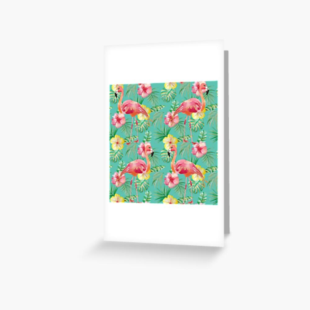 Grünes Türkisflamingo-Hibiskus-Glitter-Druckmuster Grußkarte