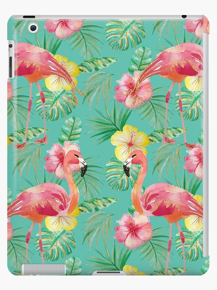Green turquoise flamingo hibiscus glitter print pattern by jmac111