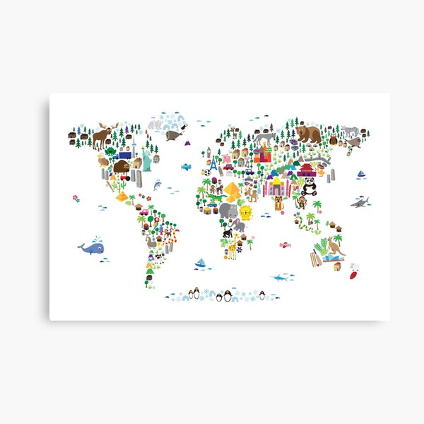 Animal Map of the World for children and kids Canvas Print