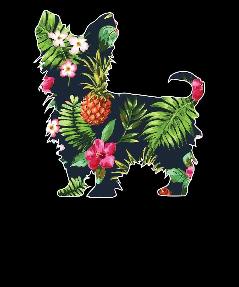 Aloha Yorkie T-shirt Hawaii Dog Silhouette Shirt by chihai