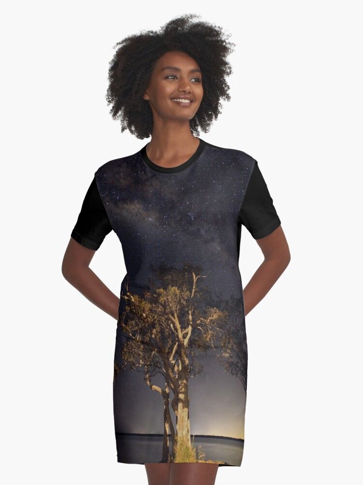 Under the Milky way Graphic T-Shirt Dress Front