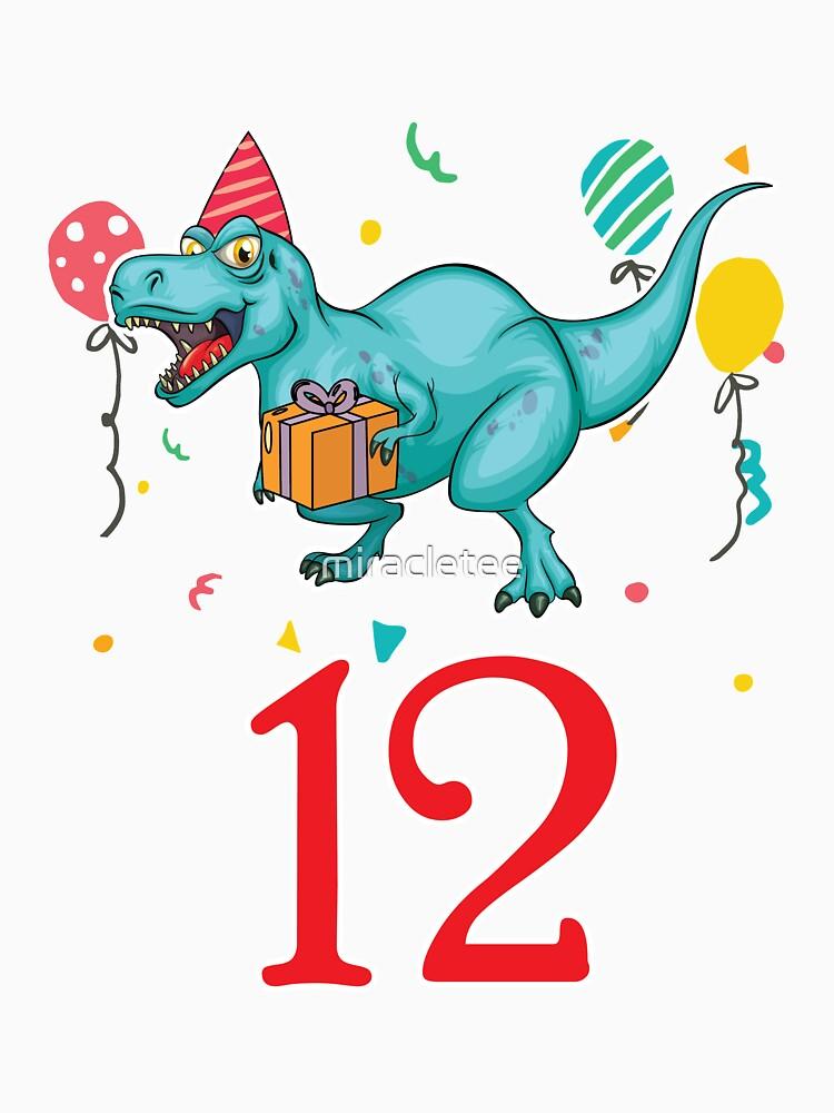 12th Birthday For Boys Dinosaur Birthday by miracletee