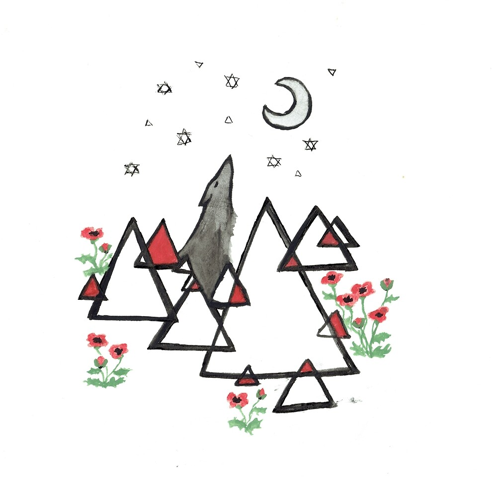Geometric with wolf and poppies by Elisa von Perger