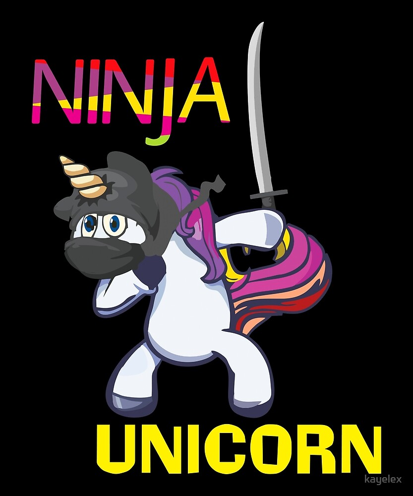 Cute Unicorn Ninja Kids Magical Gift Design by kayelex