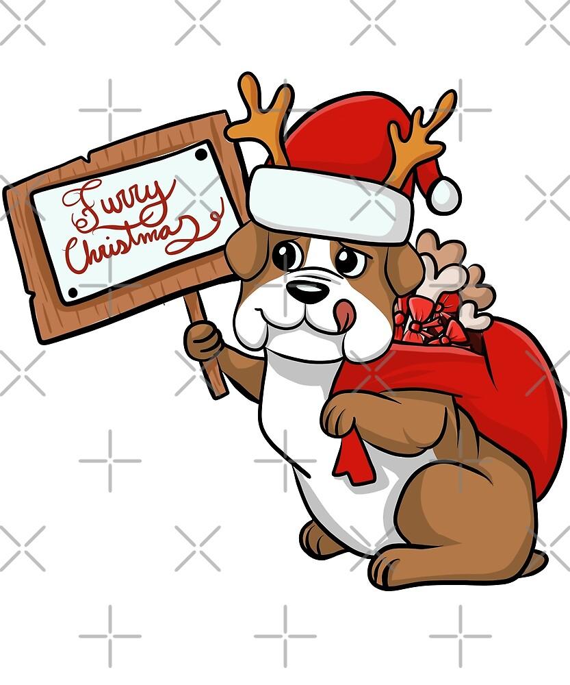 Funny English Bulldog Furry Xmas Sign Christmas by ilovepaws