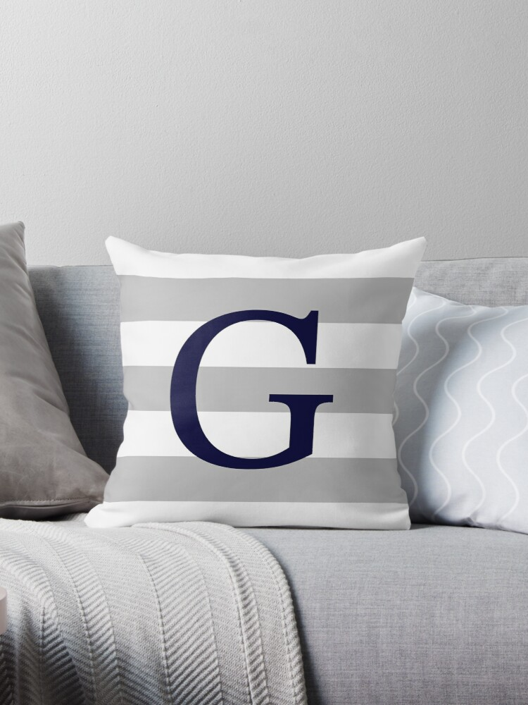 Silver Gray Stripes Navy Blue Monogram G by rewstudio