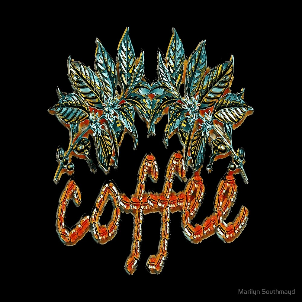 Demon Coffee Leaves Beans by Marilyn Southmayd