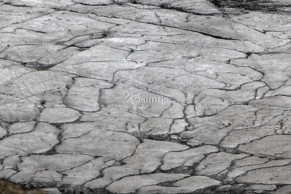 Surface of glacier ice with faults and fractures by Zosimus