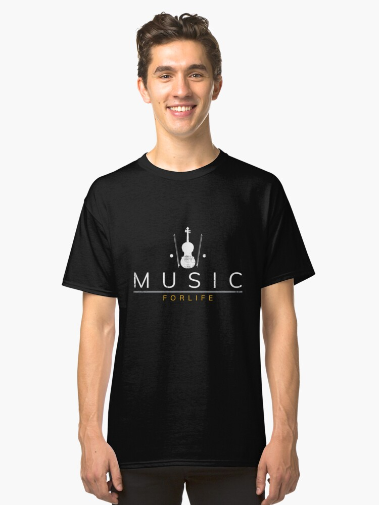 Music for life saying violin violin Classic T-Shirt Front