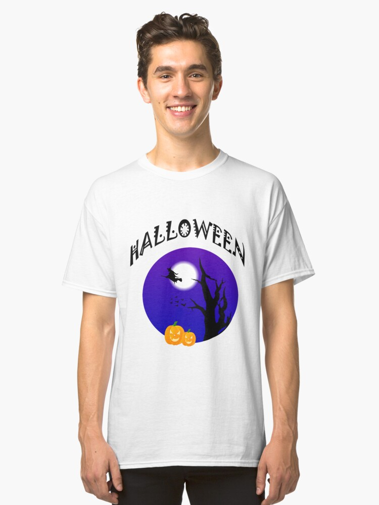 Halloween Witch in the sky Classic T-Shirt Front