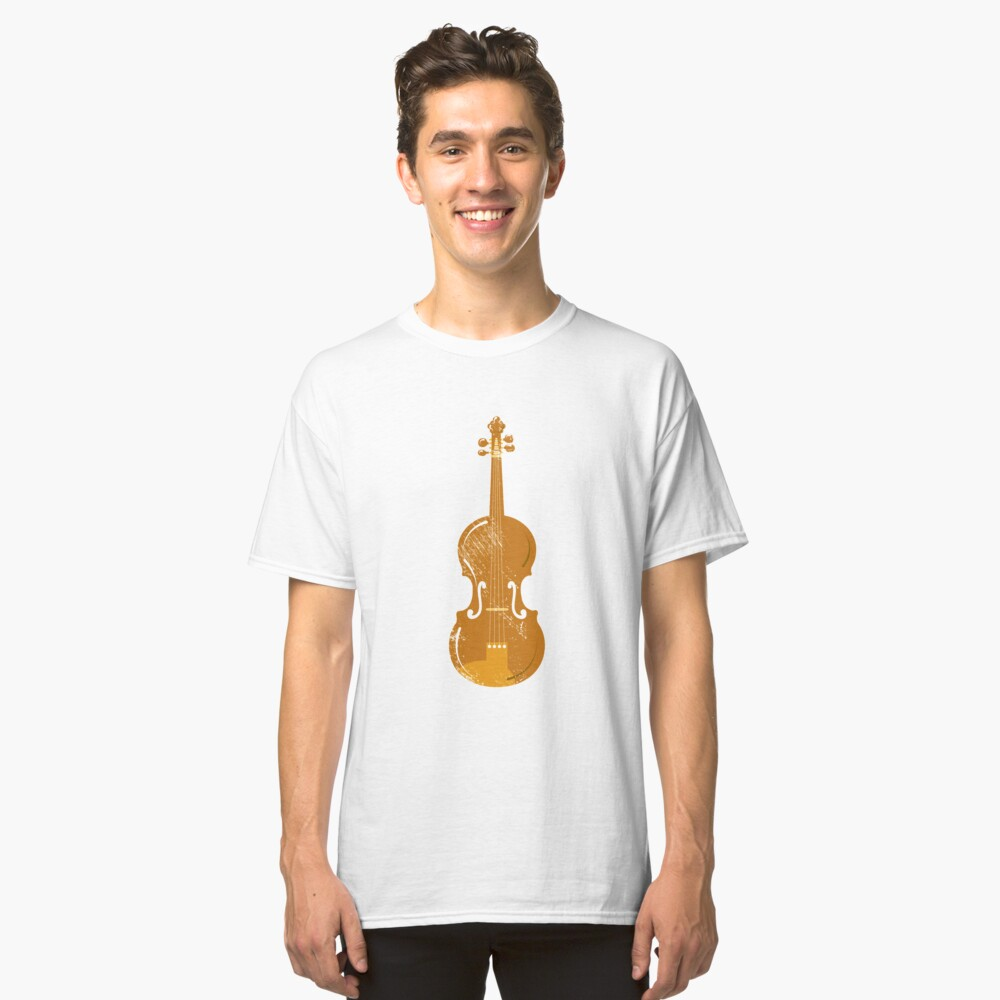 Violin drawing children illustration violin Classic T-Shirt Front