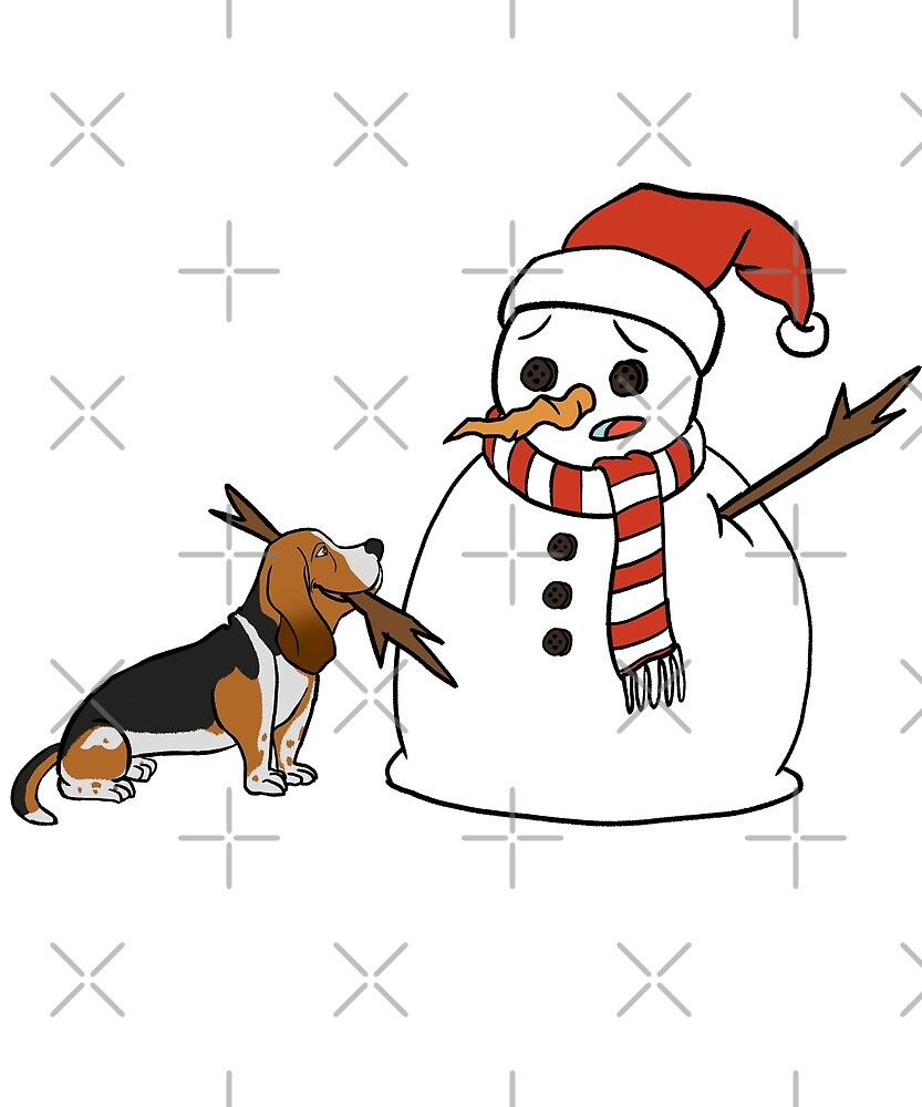 Funny Basset Hound Playing With Snowman Christmas by ilovepaws