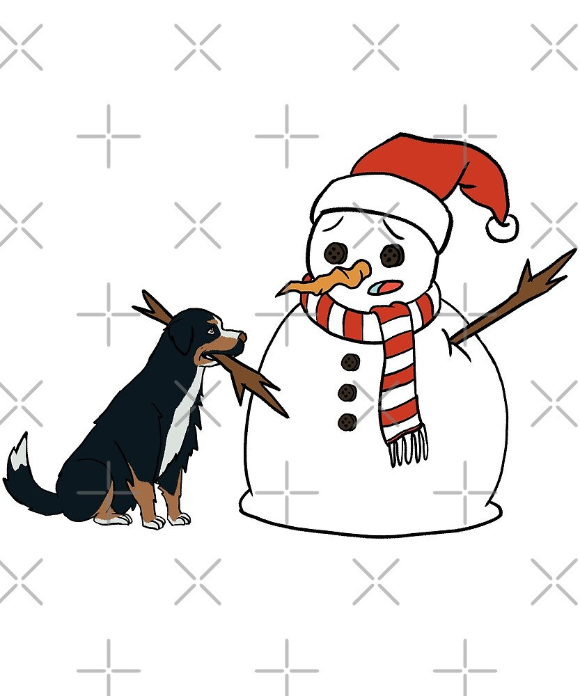 Funny Border Collie Playing With Snowman Christmas by ilovepaws