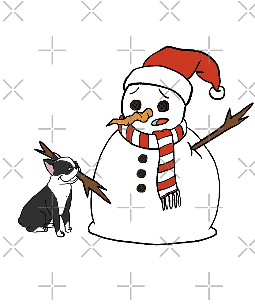 Funny Boston Terrier Playing With Snowman Christmas by ilovepaws