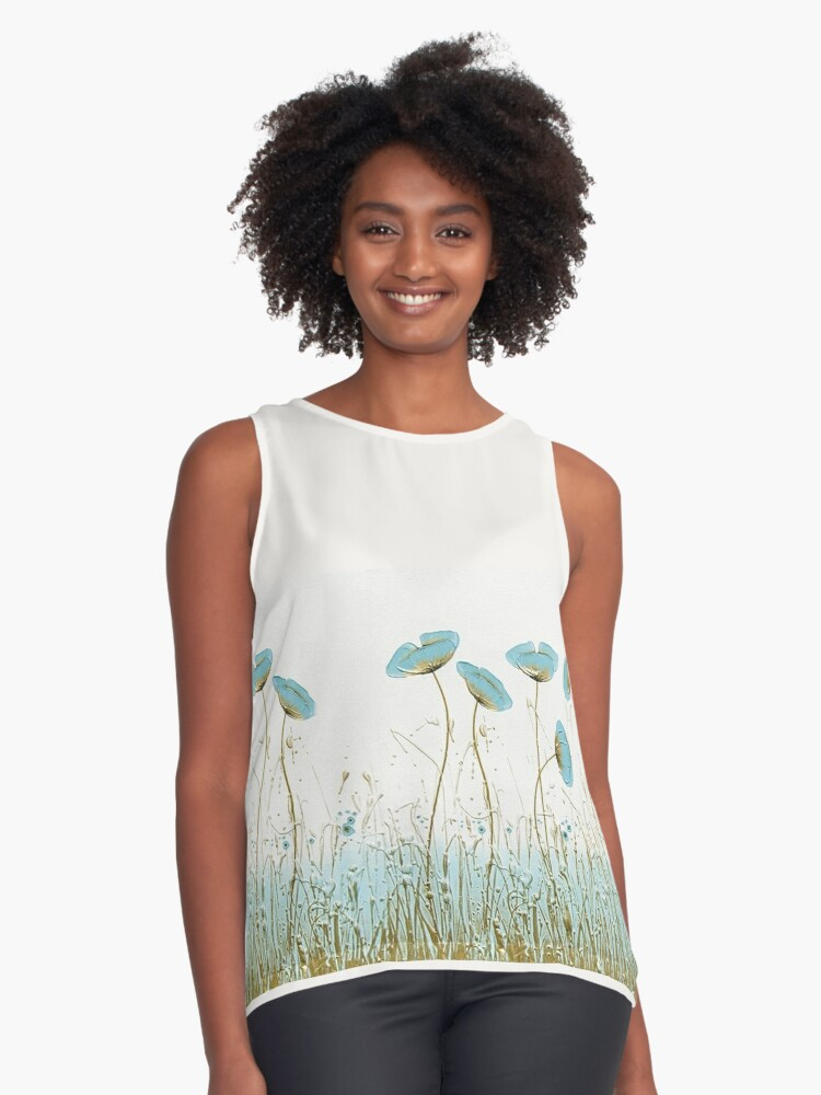 Watercolor poppies turquoise modern Contrast Tank Front