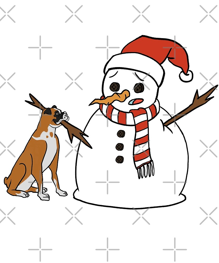 Funny Boxer Dog Playing With Snowman Christmas by ilovepaws