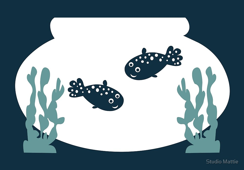 Two little friendly fish in a bowl - animal graphic by Abird