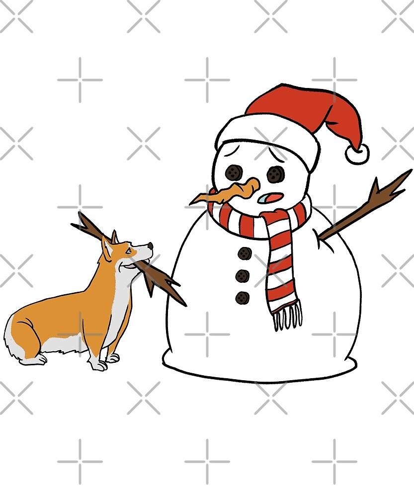 Funny Corgi Playing With Snowman Christmas by ilovepaws