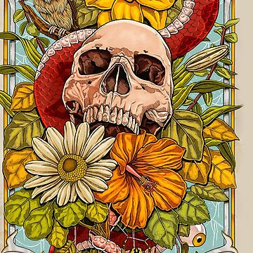 Nature Snake and Owl Skull Flowers by ClarencePrisco