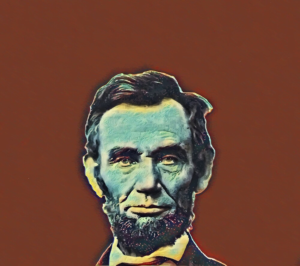 Abraham Lincoln - blue on rust by NafetsNuarb