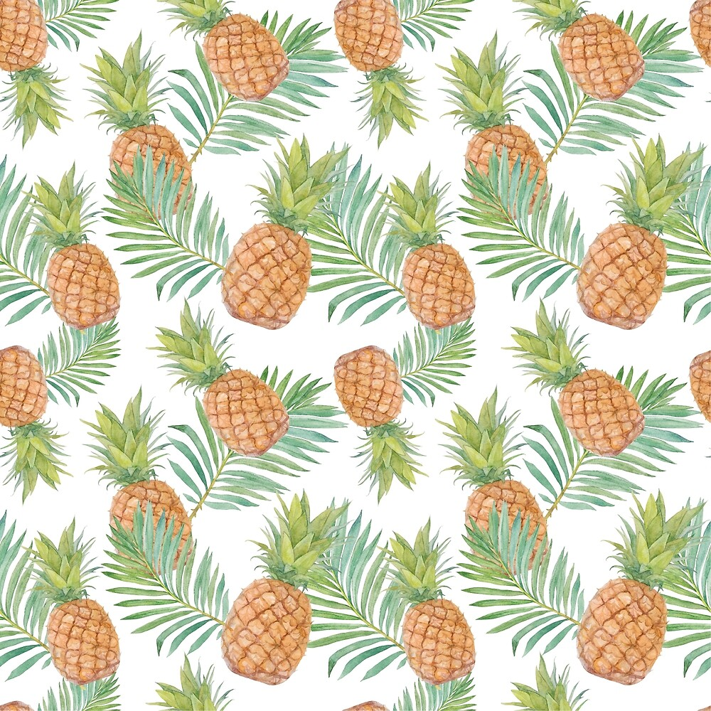 Watercolor pattern with pineapples. by Milkspace