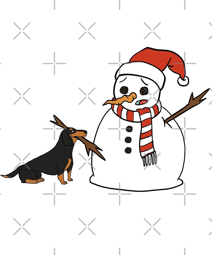 Funny Dachshund Playing With Snowman Christmas by ilovepaws