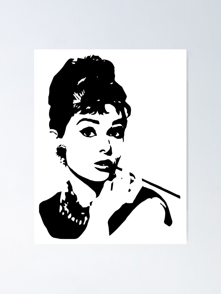 Audrey Hepburn Portrait Canvas Wall Art Movie Poster Print Fashion Model Icon