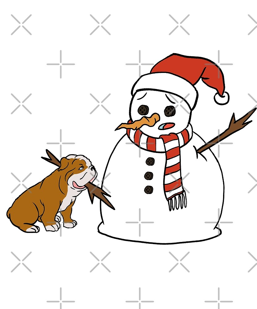 Funny English Bulldog Playing With Snowman Christmas by ilovepaws