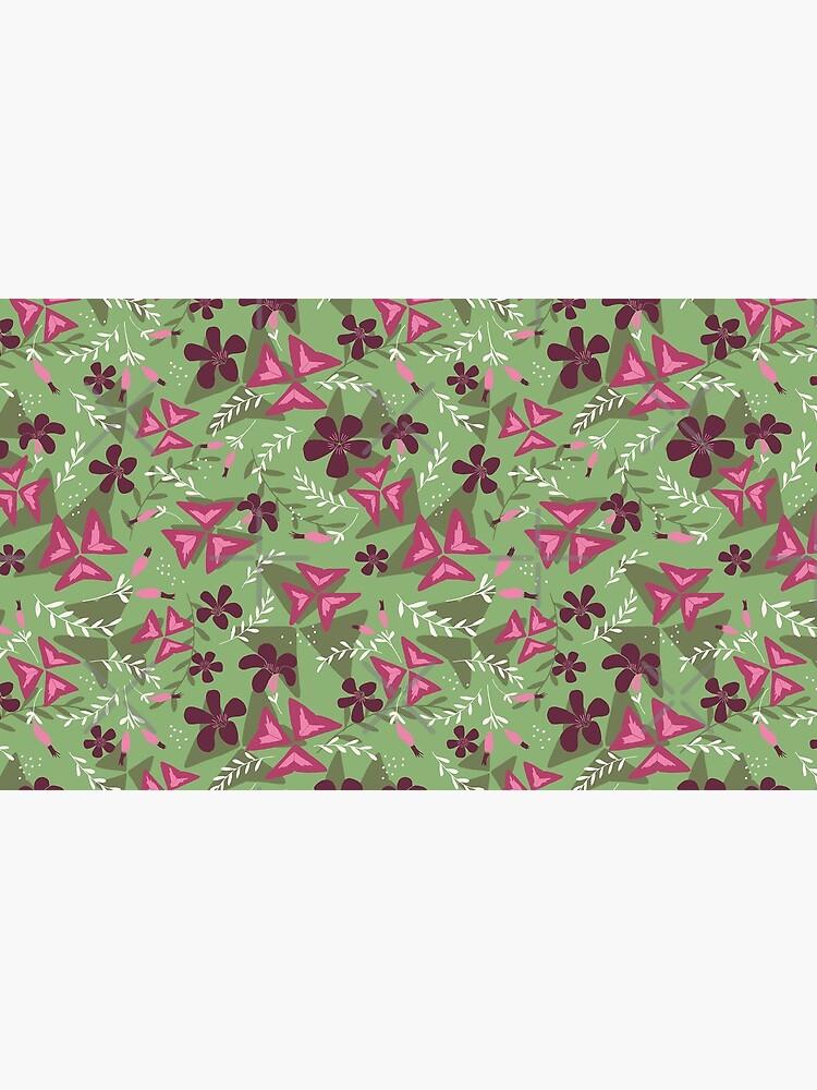 Purple Shamrock Floral Layered Pattern / Green by marketastengl
