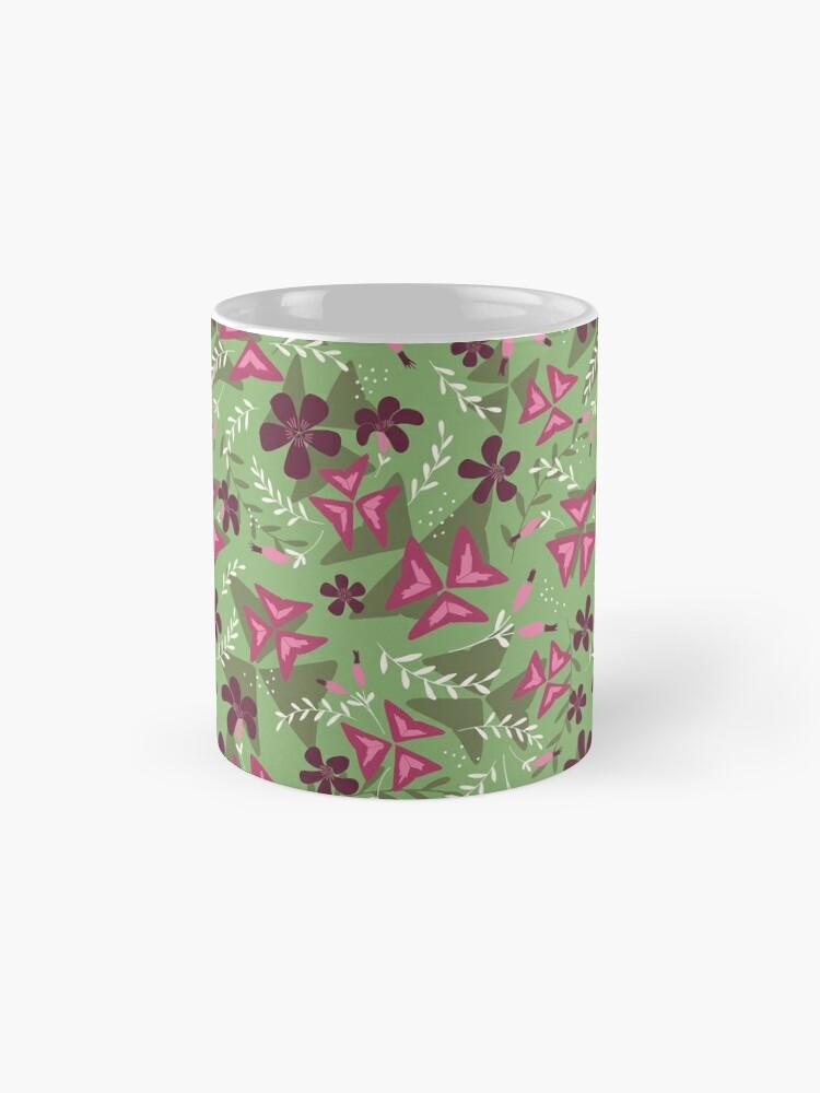 Alternate view of Purple Shamrock Floral Layered Pattern / Green Standard Mug