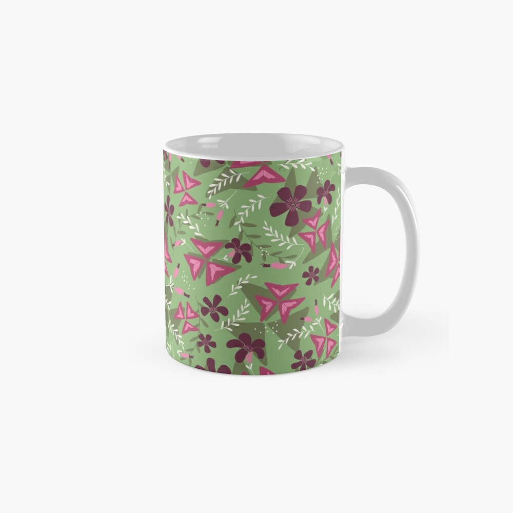 Purple Shamrock Floral Layered Pattern / Green Standard Mug