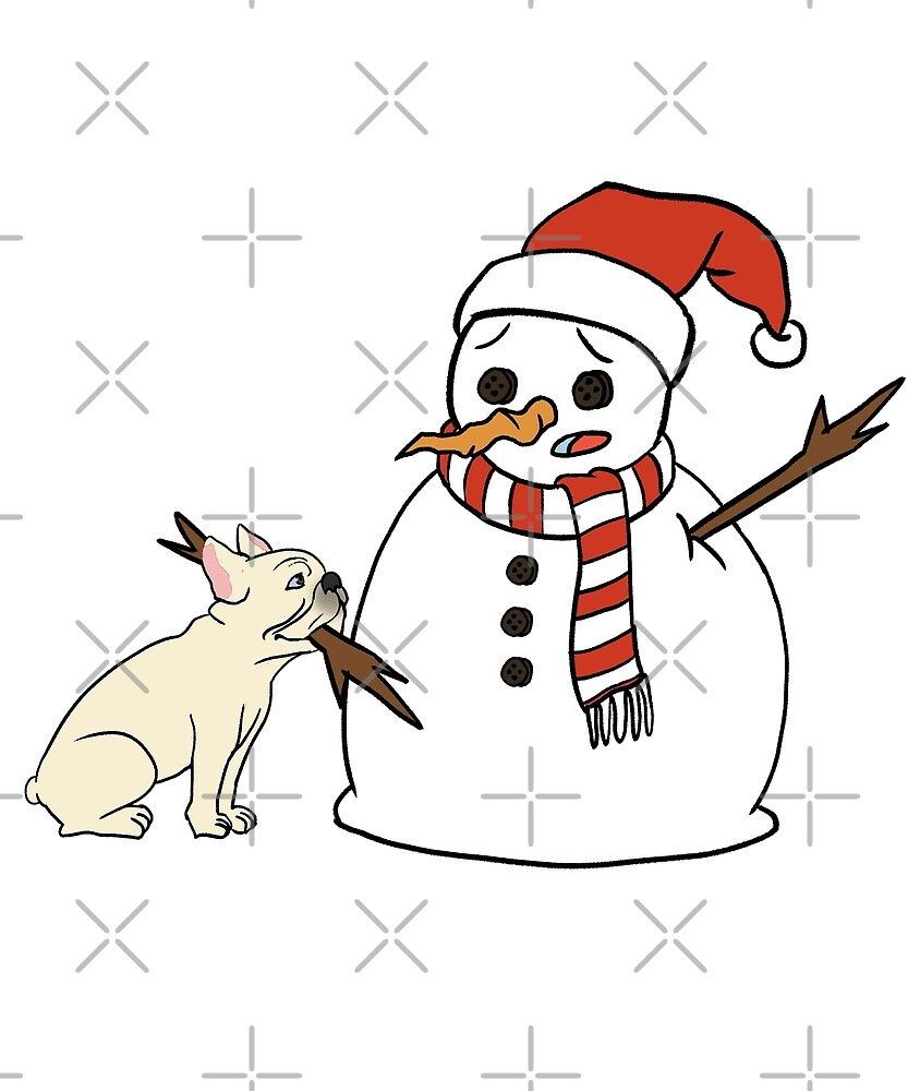 Funny Cream French Bulldog Playing With Snowman Christmas by ilovepaws