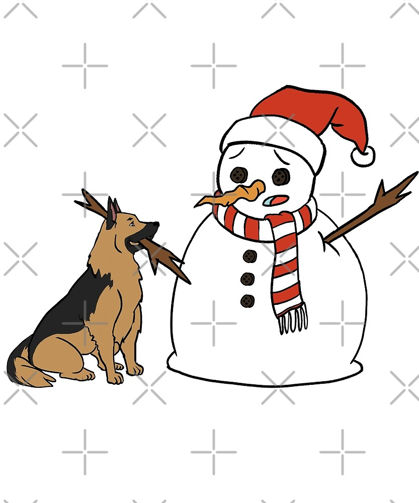 Funny German Shepherd Playing With Snowman Christmas by ilovepaws