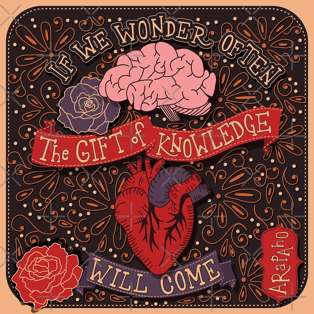 If we wonder often the gift of knowledge will come inspirational quote, handlettering design with decoration, native american proverb, vector illustration by BlueLela
