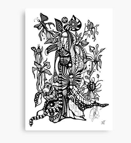 Spring night(black-and-whitr version) Canvas Print