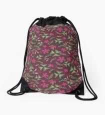 Shamrock Floral Layered Pattern / Purple Drawstring Bag