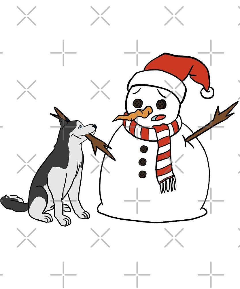Funny Husky Playing With Snowman Christmas by ilovepaws