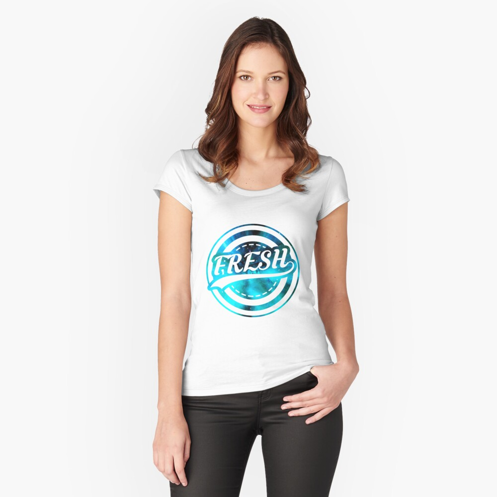 Fresh Logo with Galaxy backround Women's Fitted Scoop T-Shirt Front