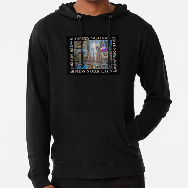 Times Square Traffic (poster edition on black) Lightweight Hoodie