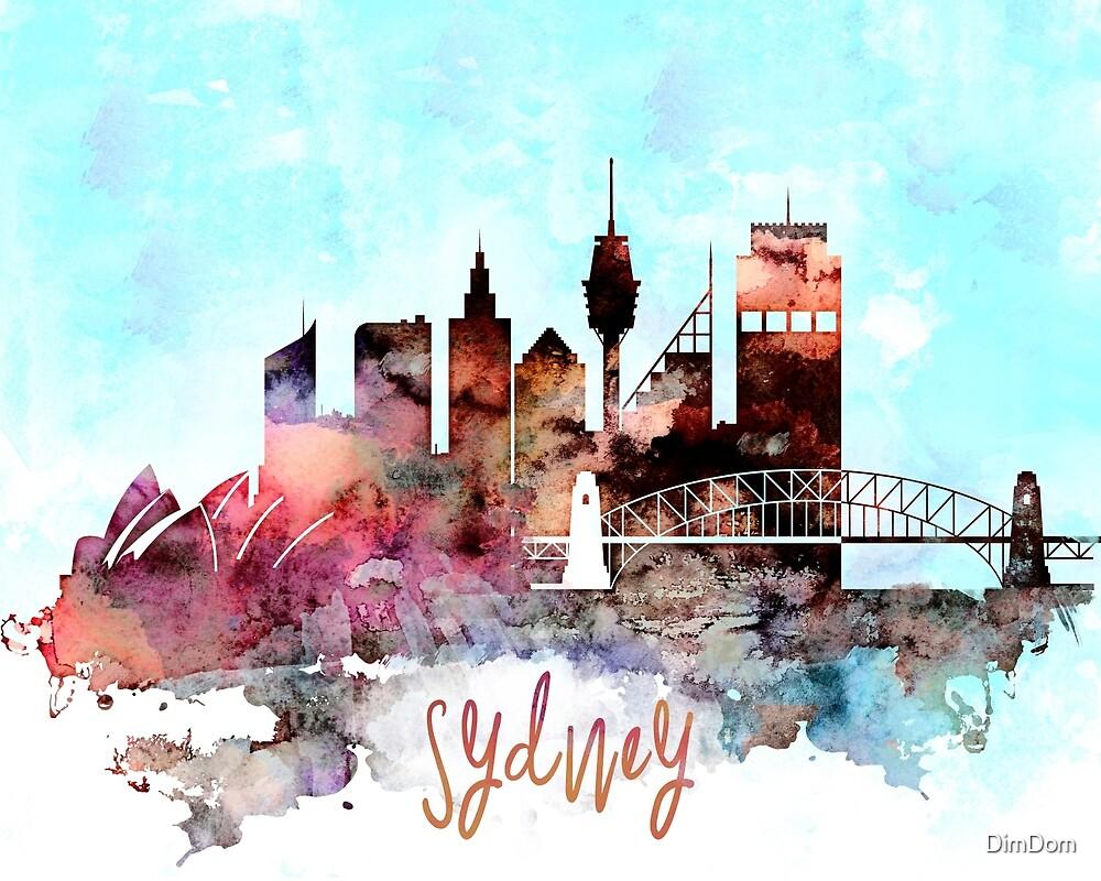 Sydney watercolor skyline design by DimDom