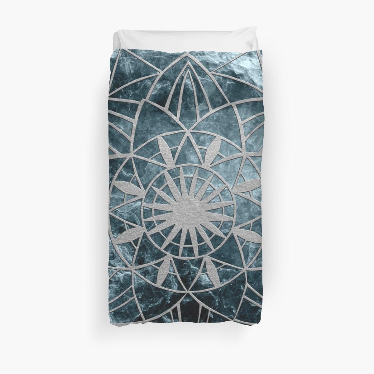 Star Mandala on Enigmatic Deep Blue Ocean Marble #1 #decor #art  by anitabellajantz