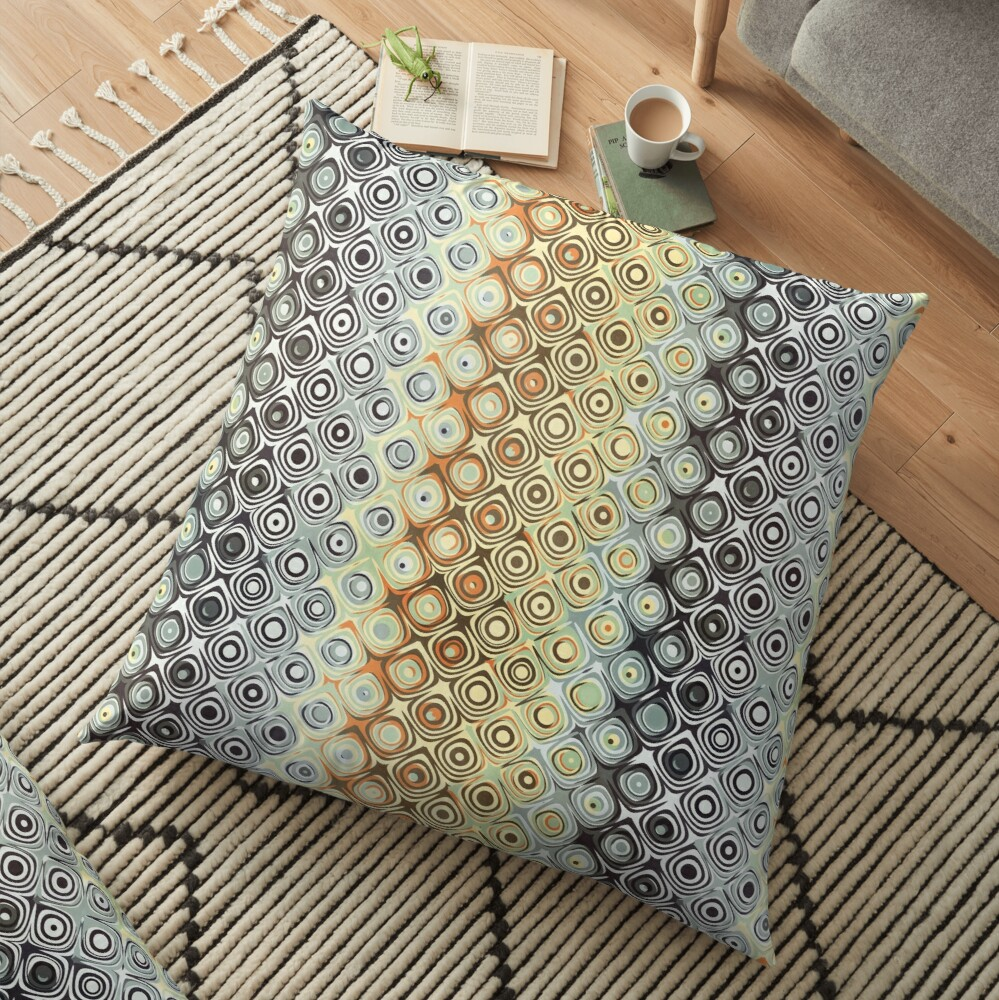 Pattern of Abstract Circles Floor Pillow