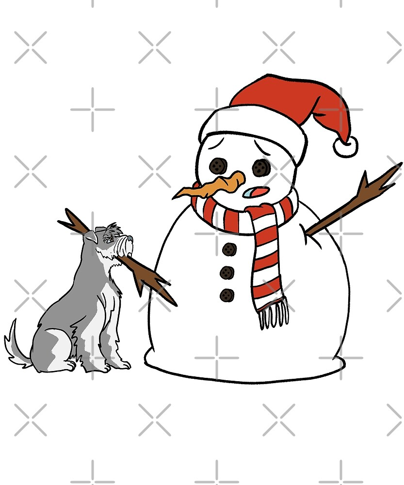 Funny Schnauzer Playing With Snowman Christmas by ilovepaws