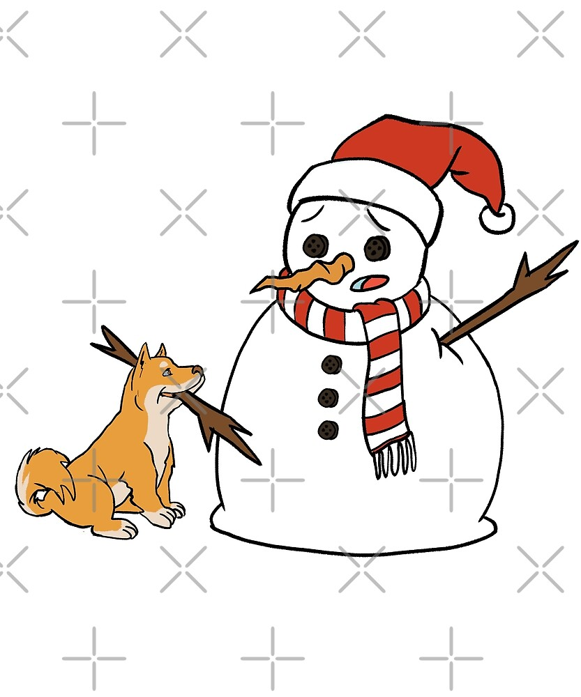 Funny Shiba Inu Playing With Snowman Christmas by ilovepaws