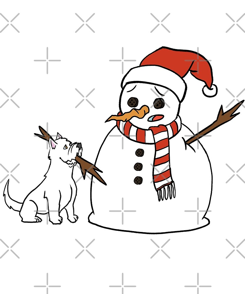 Funny Westie Playing With Snowman Christmas by ilovepaws