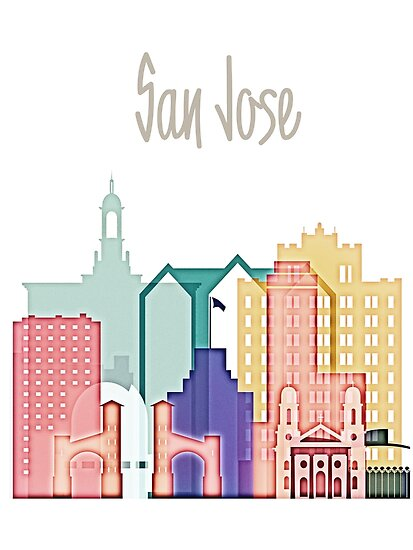 San Jose colorful skyline design  by DimDom