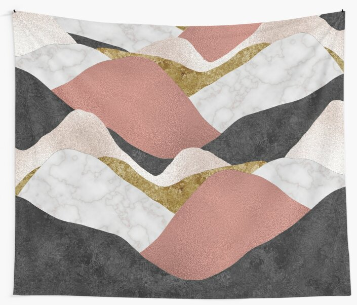 Nordic Mountains - gold, bronze and marble geometric pattern by cadinera